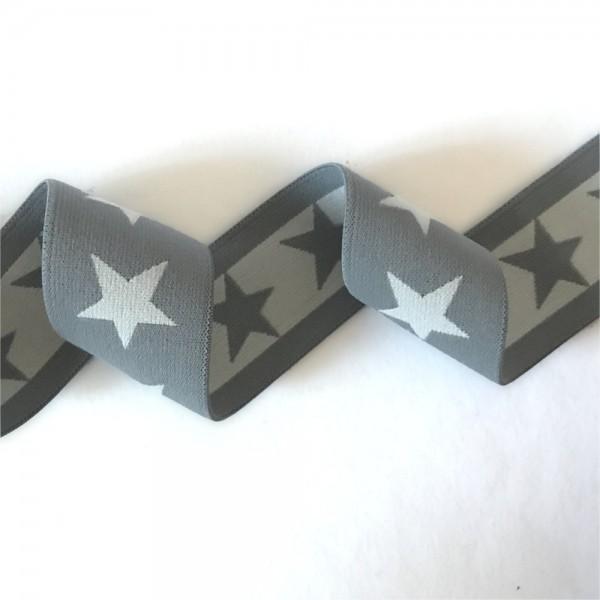 Gummiband BREIT Sterne, 4cm, dunkelgrau-hellgrau